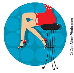 Woman legs with fashion shoes sitting on bar stoolColor...