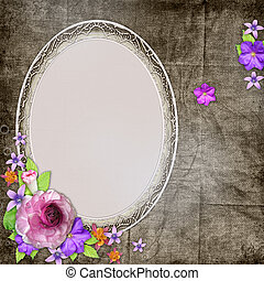 background with a frame for the photo or text and with flowers