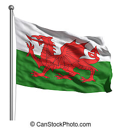 Flag of Wales - Wales flag. Rendered with fabric texture...