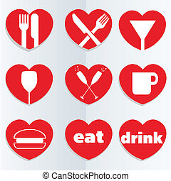 Love food and drink icons