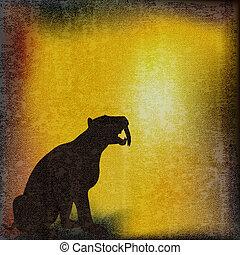 Sabretoothed Tiger Background - Sabretoothed Tiger over a...