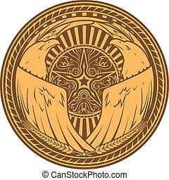 Western Eagle Seal - A seal with a western star, twin...