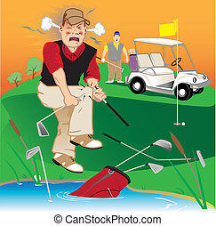 Angry Golfer - Golfer swearing, breaking clubs and throwing...