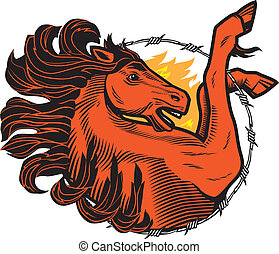 Fiery Stallion - A wild stallion with flames and barbed wire