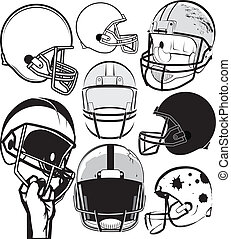 Football Helmet Collection - Clip art collection of various...