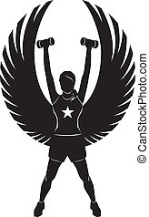Fitness Angel - Silhouette of a winged woman exercising with...