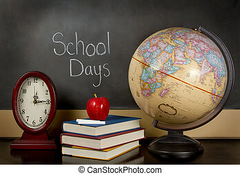 school days chalk board - a chalkboard with the words school...