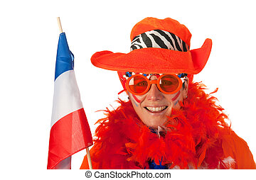 Dutch woman with flag as soccer fan