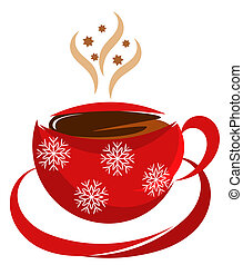 Christmas coffee cup in red color