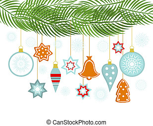 Christmas hanging ornaments - Christmas background with...