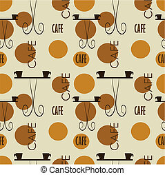 Cafe texture - Cafe seamless texture. Vector pattern