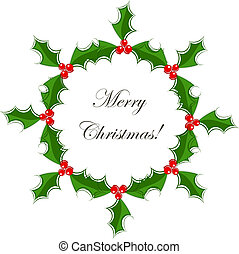 Holly wreath - Holly berry Christmas wreath Vector...