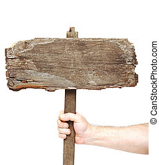 vintage road sign on hand isolate on white - Old wooden...