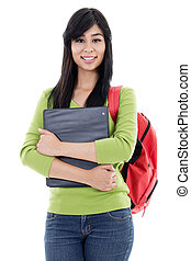 Female student - Stock image of female student isolated on...