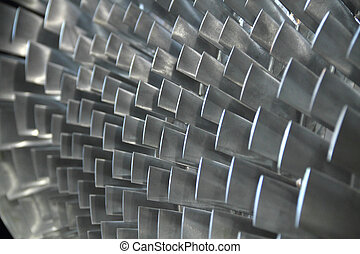 Close up of turbine blades - turbine blade texture...
