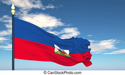 Flag Of Haiti on the background of the sky and flying clouds...