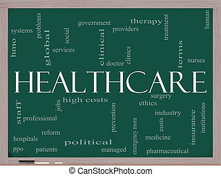 Healthcare word cloud on blackboard - A Healthcare word...