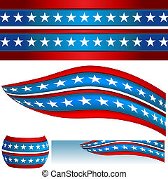 Patriotic USA Flag Banners - An image of a patriotic USA...