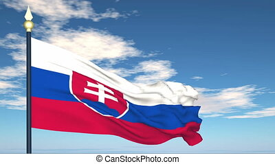 Flag Of Slovakia on the background of the sky and flying...