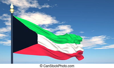 Flag Of Kuwait on the background of the sky and flying...