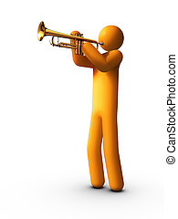 Trumpet Player - 3d rendered stick figure playing trumpet