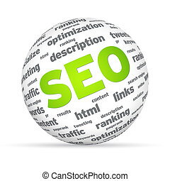 SEO Sphere - Sphere with SEO words on white background.