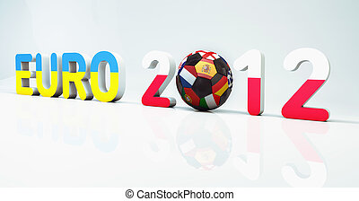2012 European Football Championship, or Euro, 3d text angled...