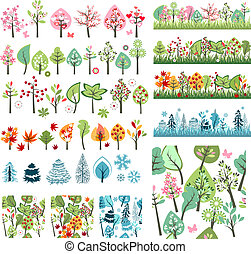 Big Set with Different Stylized Trees