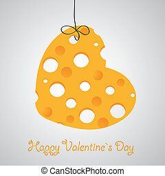 Cheese heart vector illustration