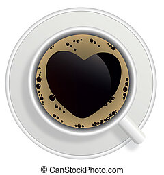 Top view of black coffee cup isolated on white background...