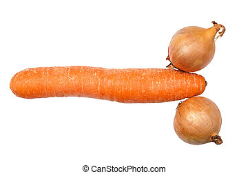 Carrot and onions looking like penis and testicles isolated...