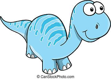 Goofy Silly Blue Dinosaur Vector