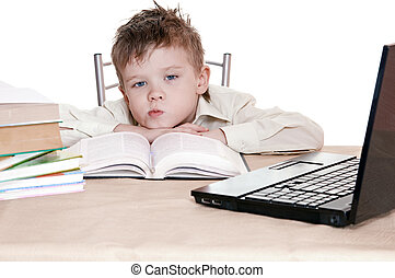 pupil - boy pupil thinks for in time  homework