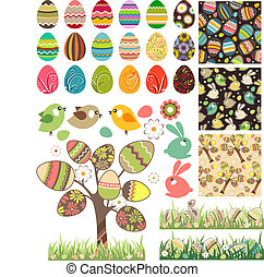 Big easter set with traditional eggs. - Big easter set with...