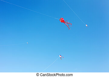 Japanese paper kite in blue sky
