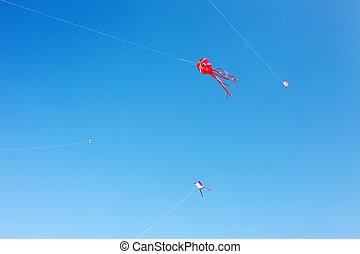 Japanese paper kite in blue sky