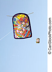 Japanese traditional paper kite in blue sky