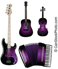 Musical instruments on the white background