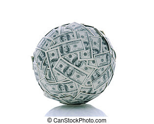 A Ball of Money - A sphere made up of USA one hundred dollar...