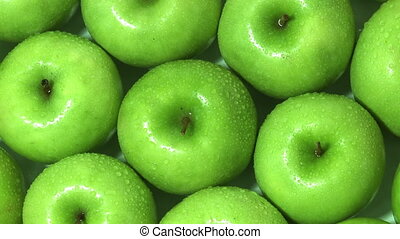 Granny Smith apples rotating