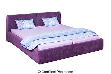 Double bed - Suede double bed with light blue bed linen