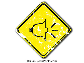 Yellow traffic sign - grunge yellow traffic sign urging...