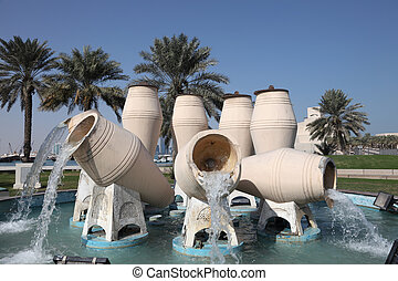 Water jar fountain at the corniche of Doha, Qatar