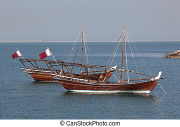 Traditional arabic dhows in Doha, Qatar