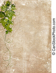 Aged Vintage Paper with Ornament - Grungy backdrop of old...