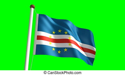 Cape Verde flag with green screen - 3D Cape Verde flag video...