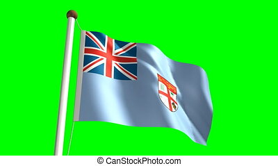 Fiji flag (with green screen) - 3D Fiji flag video (seamless...