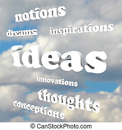 Ideas Words in Sky Dreams of Creativity and Innovation