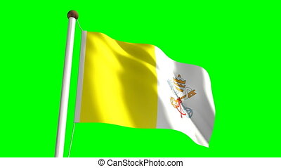Vatican flag with green screen - 3D Vatican flag video...
