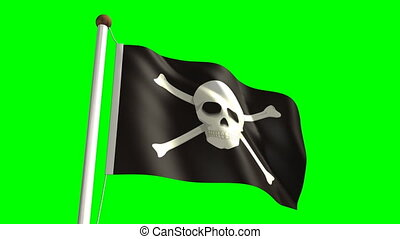 Skull flag with green screen - 3D Skull flag video seamless...